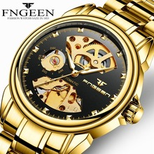 цена на Skeleton Watches FNGEEN New Sport Mechanical Watch Luxury Mens Wristwatch Top Brand  Stainless Steel Automatic Watch