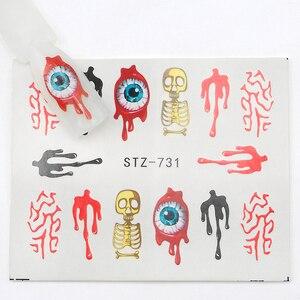 Image 4 - 25pcs Halloween Designs Nail Stickers Skull Bone Clown Ghost Big Eye Horror Decals Water Transfer Stickers Art DIY Decorations
