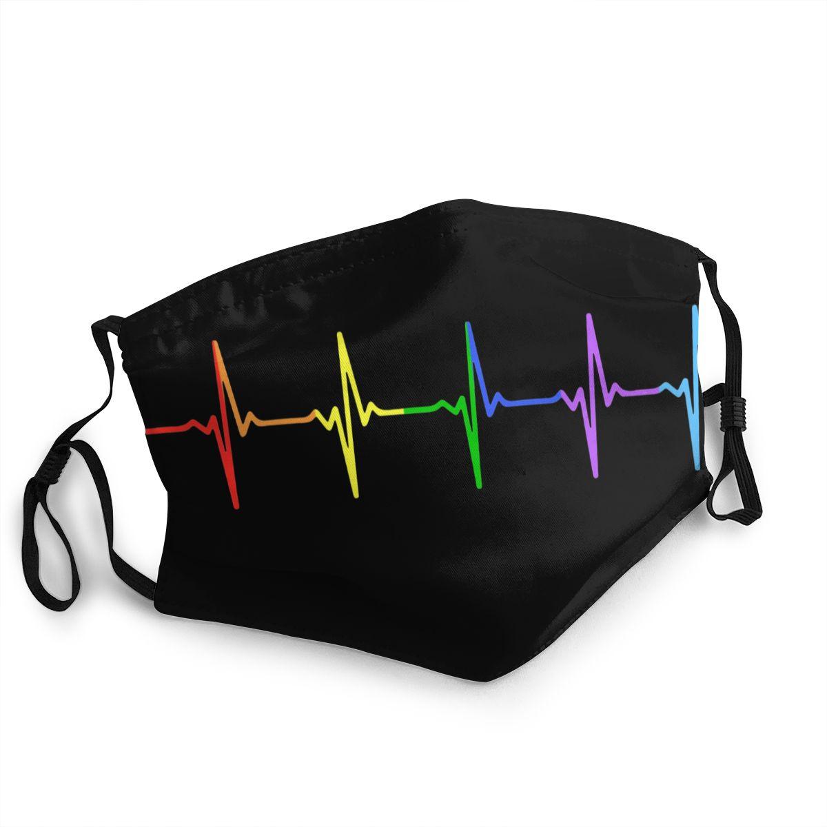 Многоразовая маска для лица ЛГБТ Rainbow Pulse Hearbeat, маска для гомосексуалистов, против смога, пылезащитный респиратор, маска для рта