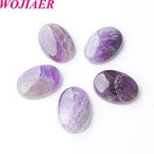WOJIAER doğal ametist Cabochon boncuk Oval CAB 18x25x7mm yarı değerli taşlar Fit el yapımı takı kadın erkek 10 adet PU8059