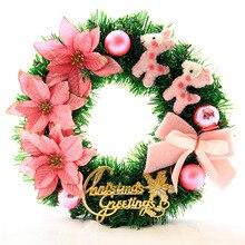 Christmas Wreath Garland Hanging Artificial-Flower Wall-Door-Decoration Handmade Party