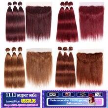 Tissage en lot naturel brésilien Non Remy lisse KEMY, couleur bordeaux 99J, 13x4, mèches de cheveux humains pré colorés, avec Frontal Closure