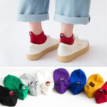 2019 Fashion Harajuku Women Cute Sesame Street Anime Socks Fun Cartoon Pattern Summer Ankle Casual Happy Lady
