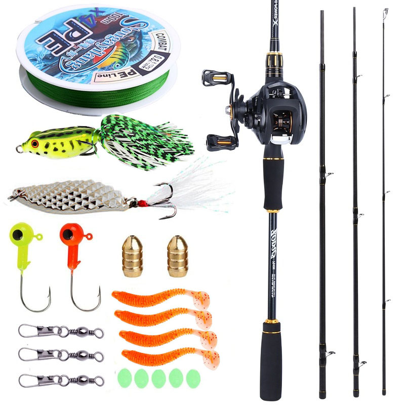 Sougayilang 2 1M Fishing Rod and Reel Combos Carbon Fiber Portable Casting Rod with Baitcasting Reel