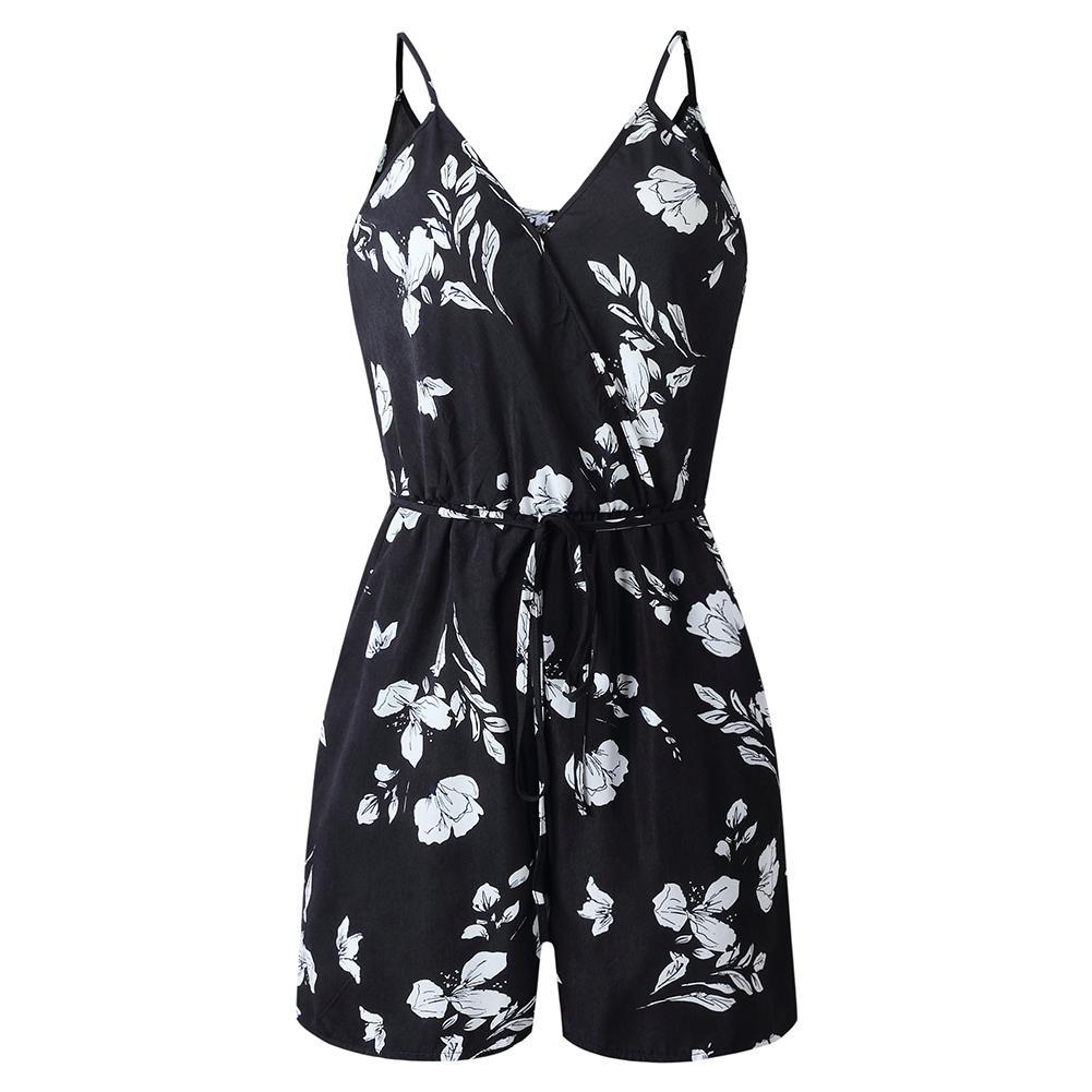 2019 New Arrival Summer Women Sleeveless V-Neck Backless Wide Leg Pants Strappy Jumpsuit Romper