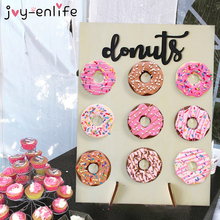 Wooden Donut Wall Stand Birthday Decoration Dount Party Doughnut Display Holder Supplies Baby shower Wedding Event
