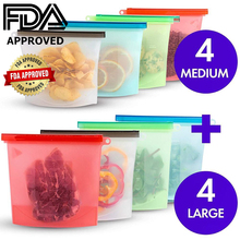 RASABOX - Reusable Silicone Food Storage Bags for Vegetable Meat Fruit with Zip Locker