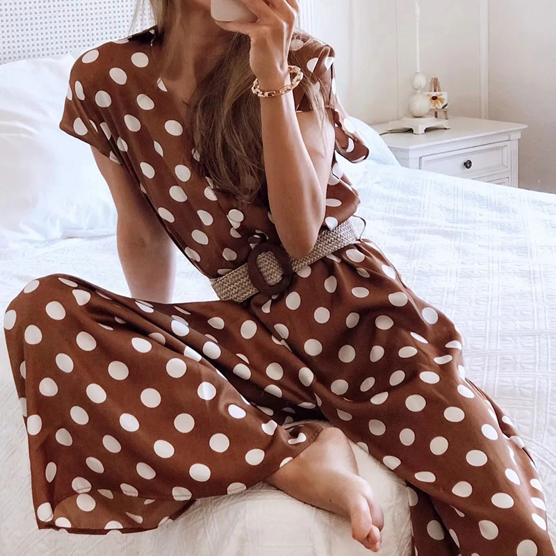 H63bf9d7e25404078a0954a37efe6fc52o - Elegant women polka dots looses jumpsuits with belt summer fashion ladies vintage boho rompers female chic jumpsuit girls