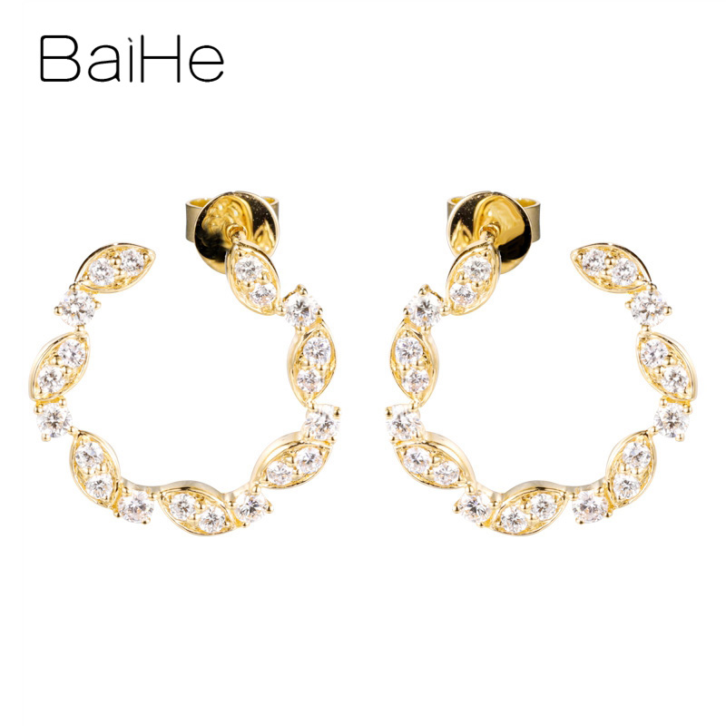 BAIHE Solid 14K Yellow Gold Total 0.60ct Round 100% Genuine Natural Diamonds Engagement Trendy Fine Jewelry Gift Stud Earrings
