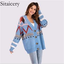 Sitaicery New 2019 Autumn Winter Christmas Cardigan Women V-Neck Long Sleeve Printed Knitted Sweater Female