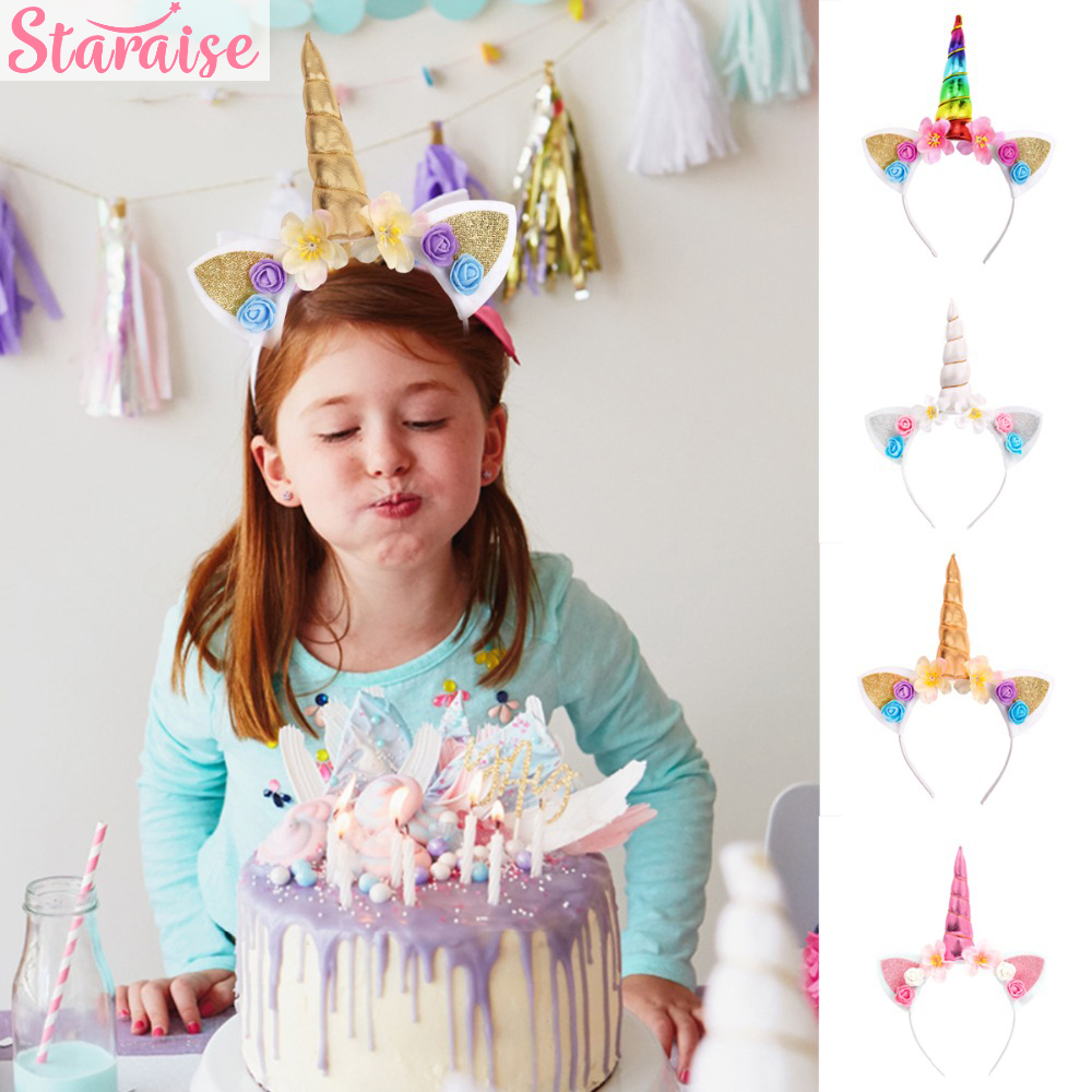 Staraise Rainbow Hairband Unicorn Party Decoration Birthday Kids Theme Supplies