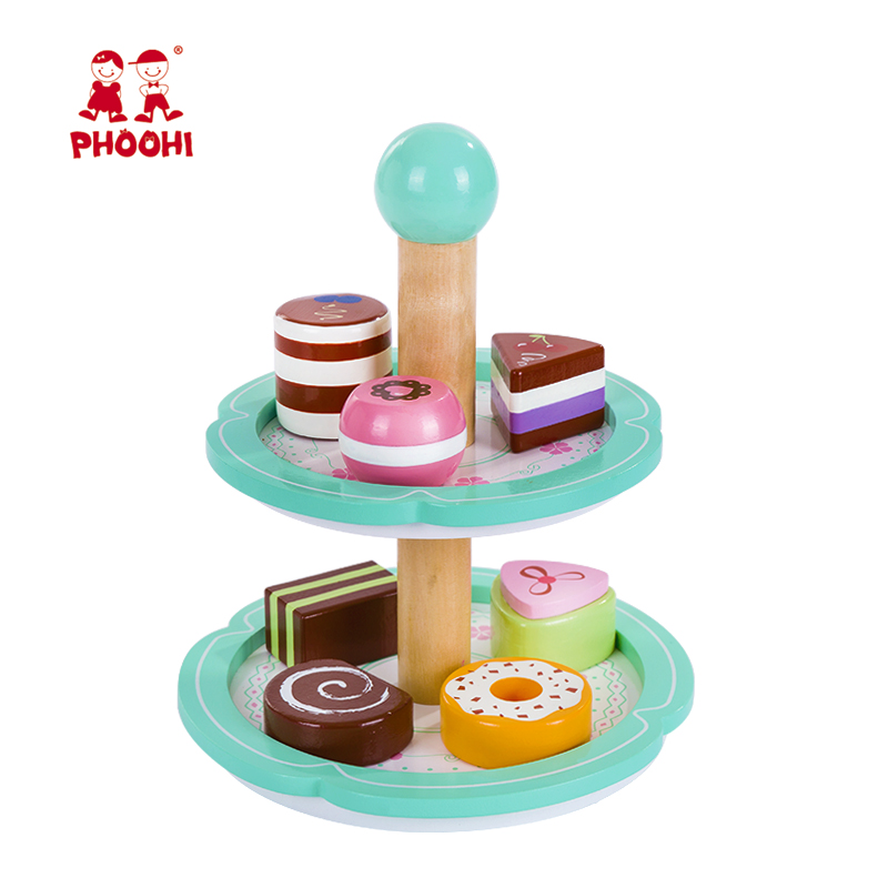 Kids Mini Brands Girls Toys Play Kitchen Food Wooden Birthday Cake Stand Macaron Green Early Educational Kids Toy