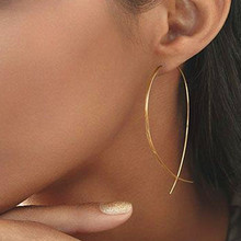 E019 One Pair New Fashion Gold- Big Hoop Earring Vintage Punk Cross Long Hoop Earring for Women Hot Sale Jewelry Wholesale недорого