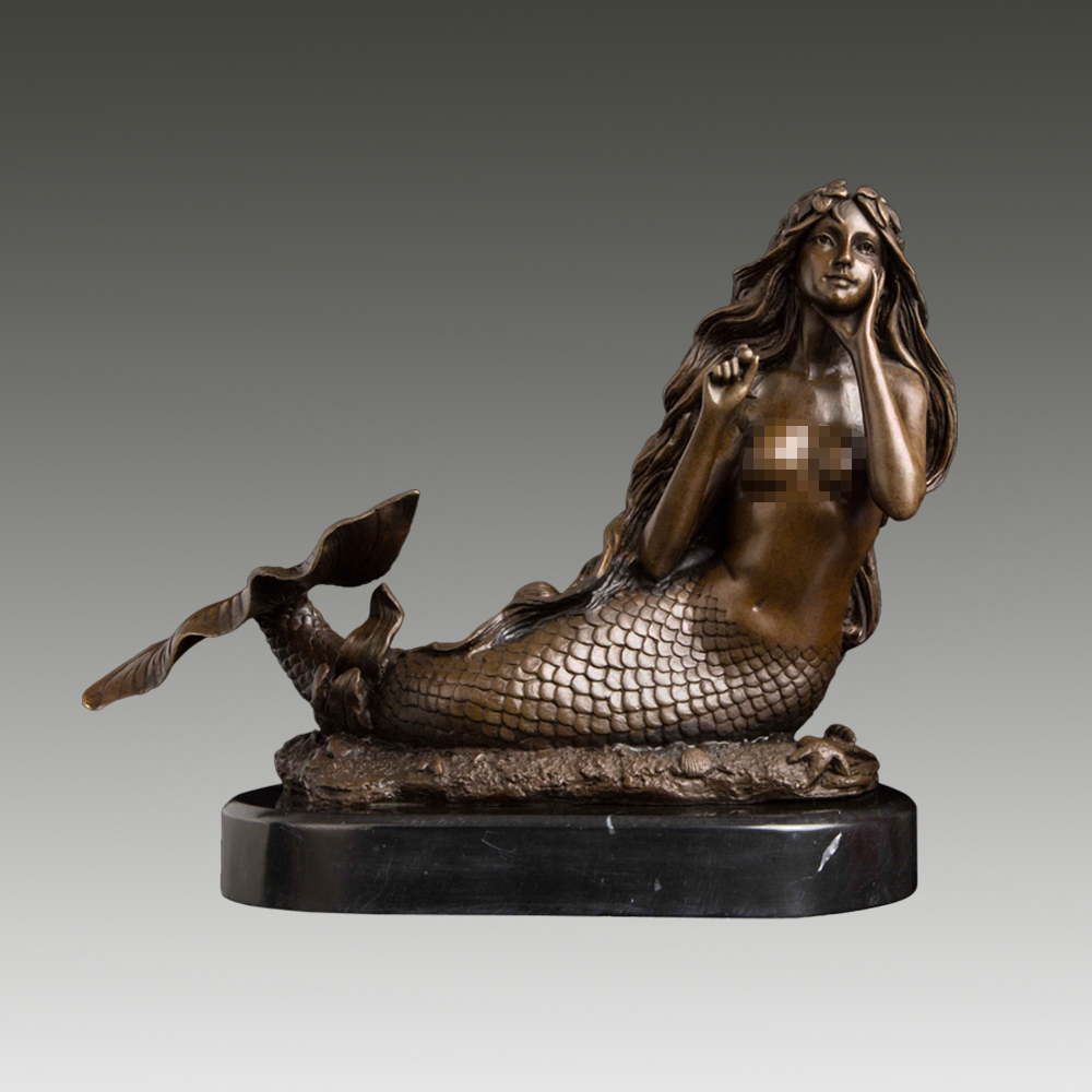 Antique big bronze hand carved girl statue collectable Statues home deco