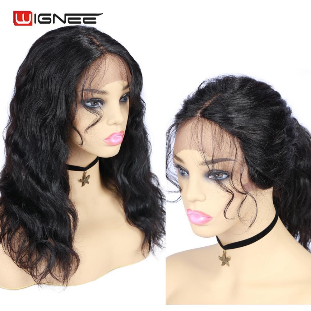 Wignee perucas humanas com o cabelo do bebê para as mulheres remy cabelo brasileiro onda natural parte do laço perucas pré arrancadas perucas de cabelo humano linha fina