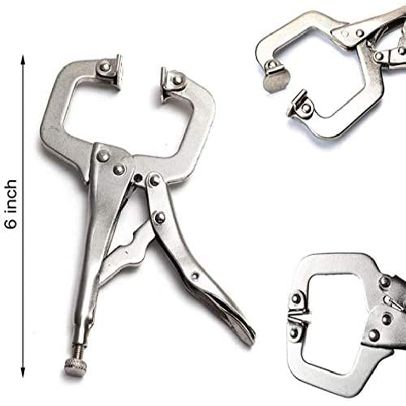 """6-14/"""" Locking C Clamp Adjustable Pliers Grip with Swivel Pad Vise Jaws Tongs"""