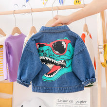 2019 Autumn Toddler Denim Jackets For Boys Cartoon Dinosaur Print Cowboy Outerwear Boy Casual Coat Children's Cotton Baby Coats(China)