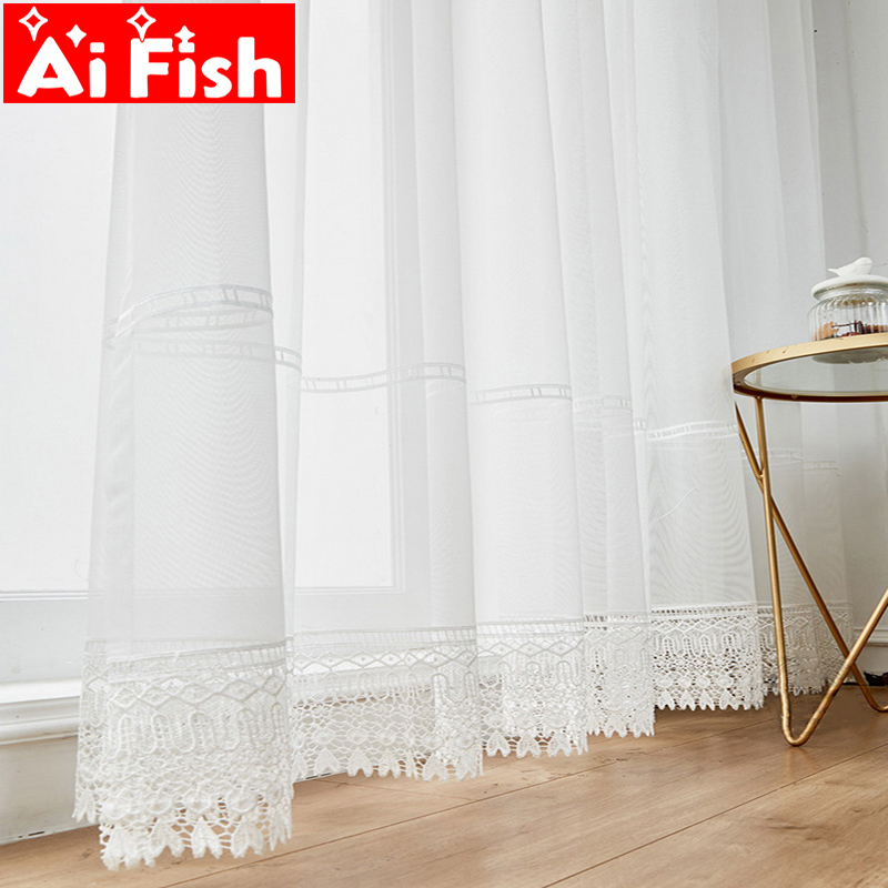 White Luxury Hollow Embroidered High Quality Tulle Fabric Drapes Sheer Curtains For Living Room Window Bedroom Tulle Cortinas