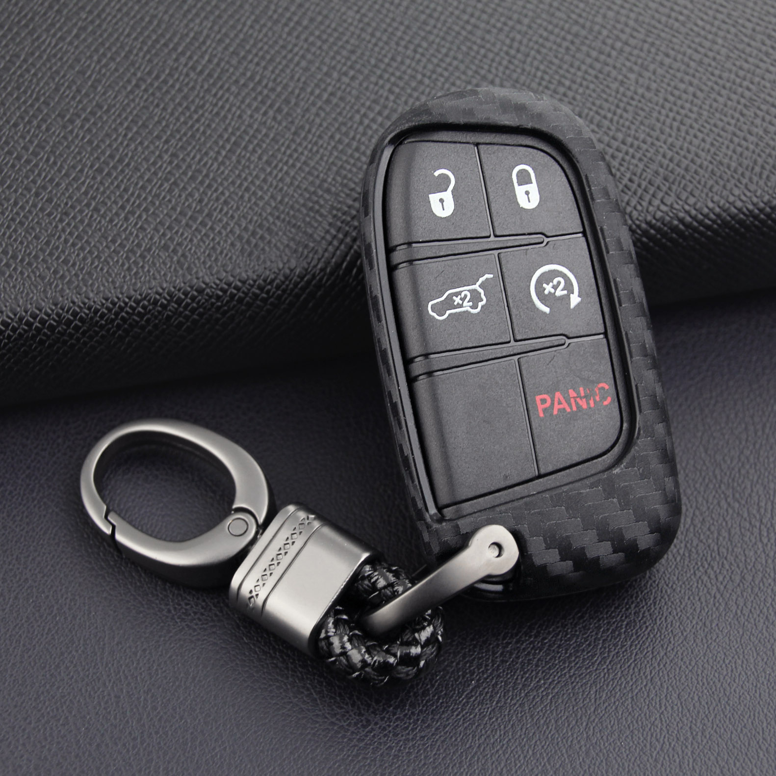 Carbon Fiber Key Fob Chain Ring Cover Case For Jeep Grand Cherokee Renegade Compass Dodge Durango Journey Charger Dart Chrysler