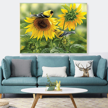 HUACAN 5D DIY Diamond Painting Bird Full Square Round Drill Sunflower Diamond Embroidery Animal Home