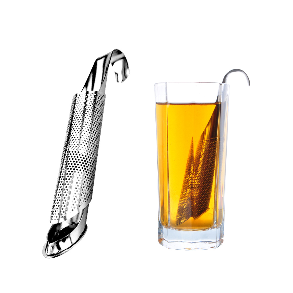 Pipe Design Tea Strainer With Hook Stainless Steel Loose Tea Leaf Infuser Mulling Spices Filter