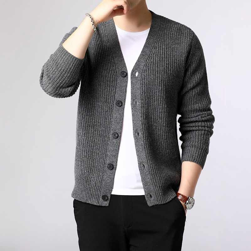 Mens Sweater Jacket Cardigan Male Pullover Christmas Men Merino Wool Sweater Angora Jumper Laamei Mens Sweaters 2019 KK2955
