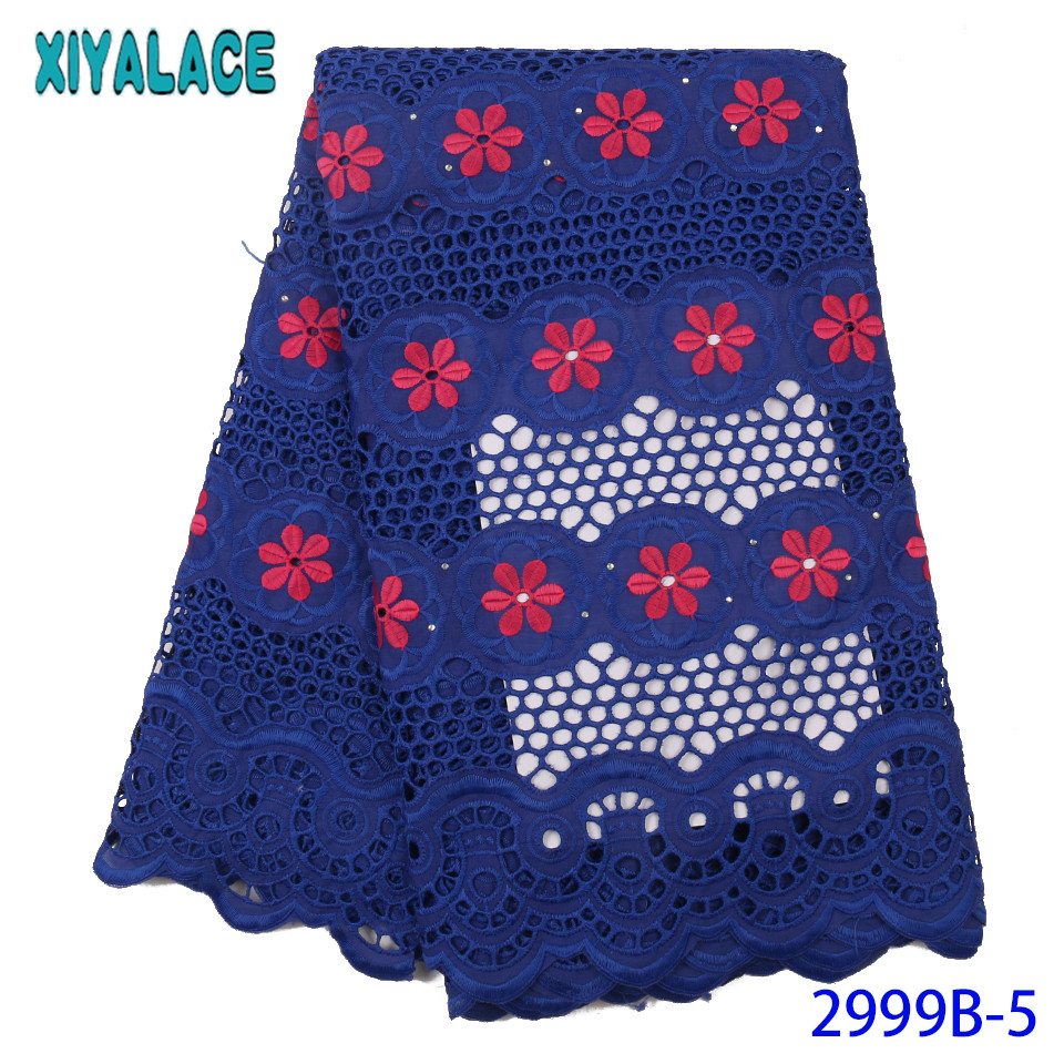 Royal Blue African Fabric Lace 2019 Swiss Voile Lace In Switzerland New Cord Lace Fabric Cotton Laces With Stones KS2999B