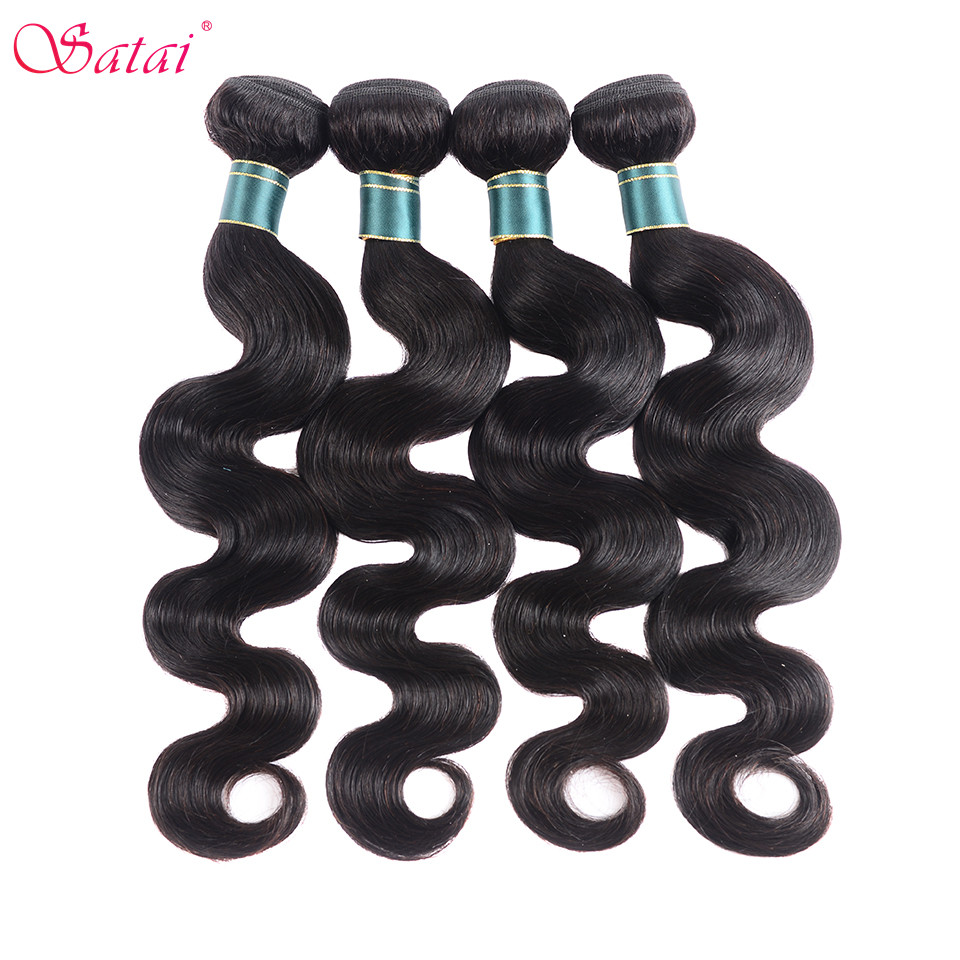 SATAI Indian Body Wave Human Hair 4 Bundles Deal Natural Color Hair Bundles Non-Remy Hair Extension
