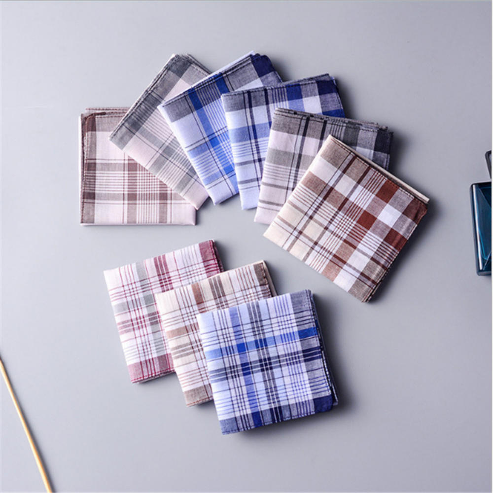 Square Plaid Stripe Handkerchiefs Men Classic Vintage Pocket Pocket Cotton Towel For Wedding Party 38*38cm Random