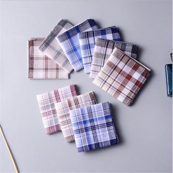 цена Square Plaid Stripe Handkerchiefs Men Classic Vintage Pocket Pocket Cotton Towel For Wedding Party 38*38cm Random онлайн в 2017 году