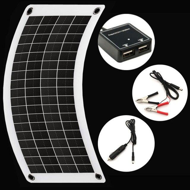 Новинка, Гибкая солнечная панель, автомобильное зарядное устройство, двойное 5 В, USB, 10 Вт, 12 В, контроллер зарядного устройства для уличных солнечных батарей, светодиодная подсветка для кемпинга