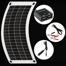 Painel solar flexível para carregamento, carregador de bateria de carro com 5v ou 10 w 12v luz de led para acampamento de célula