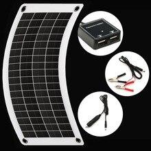 Panel Solar Flexible para coche, cargador de batería Dual de 5V, USB, 10 vatios, 12V, controlador de cargador para célula Solar exterior, luz LED para acampada