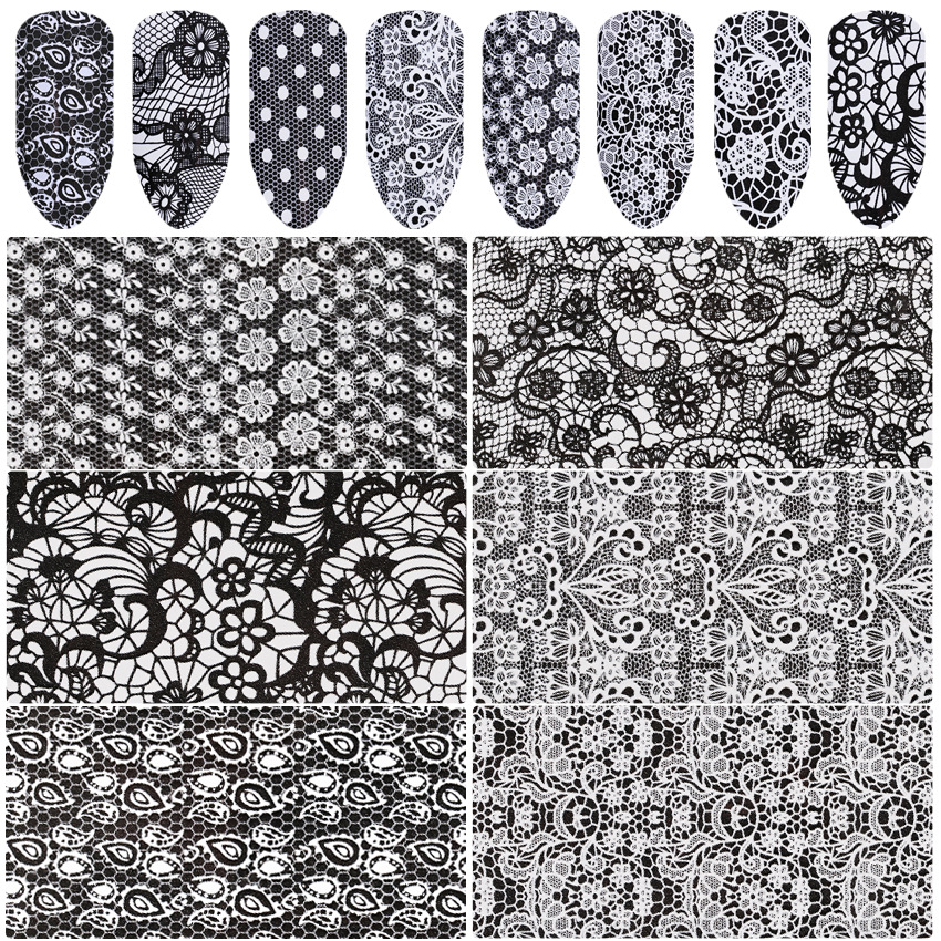 Cross Border AliExpress Hot Selling Manicure Black And White With Pattern White Lace Star Stickers Nail Sticker Star Paper 16 Pi