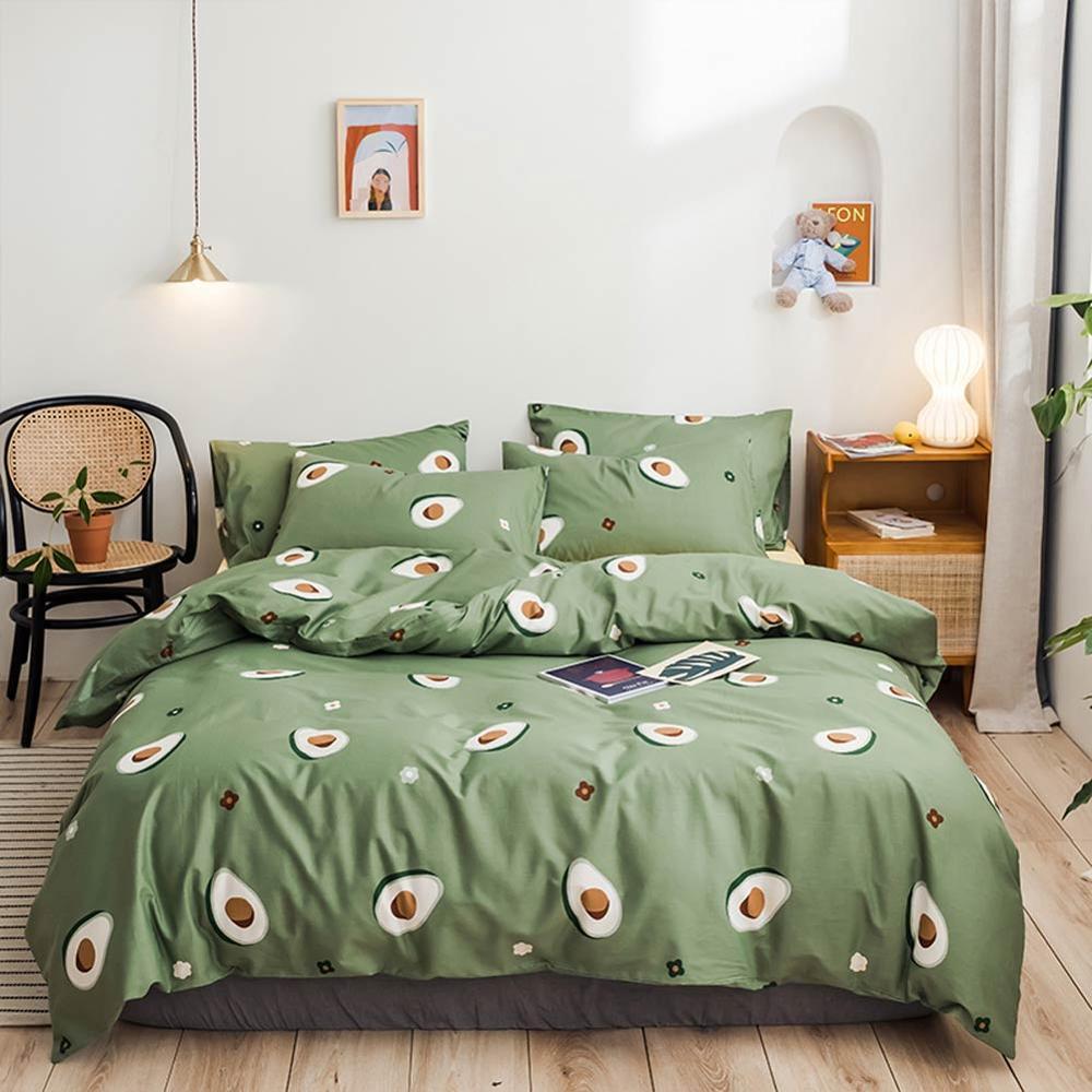 2019 Green Avocado Fruits Bed Cover Duvet Cover Set Cotton Bedding Set Bedlinens Twin Queen King Flat Sheet Fitted Sheet