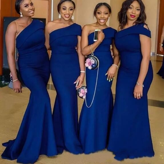 2020 Royal Blue Mermaid Bridesmaid Dresses One Shoulder Simple African Country Wedding Guest Gowns Plus Size Maid Of Honor Dress