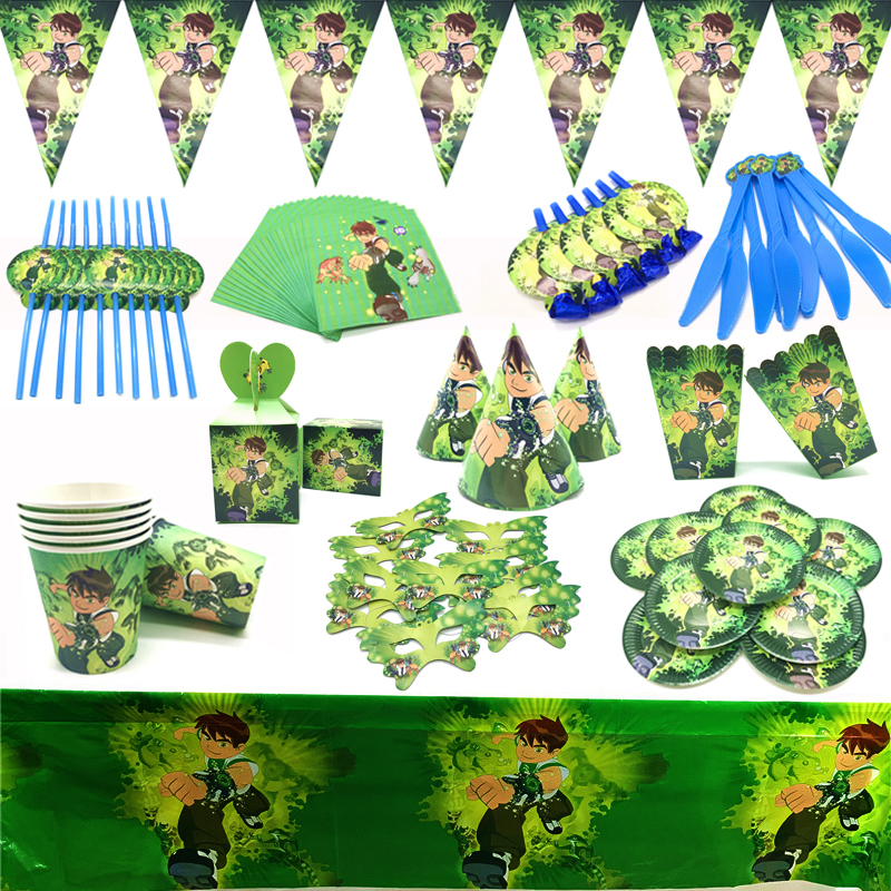 New Ben 10 Theme Birthday Party Decorations Balloon Ben 10 Boy Cups Flags Plates Party Supplies Hacker boy Popcorn Boxes Supply