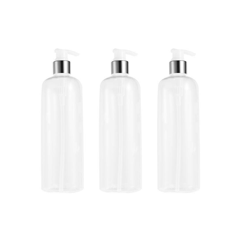 3PCS 500ml Refillable Plastic Bottle Empty Pump Bottle Travel Dispenser For Shampoo Shower Gel Liquid Soap