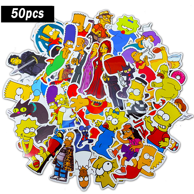 50pcs Funny Anime Cartoon Simpsons Graffiti Stickers For Car Moto & Suitcase Cool Laptop Stickers Skateboard Kids Stickers F4