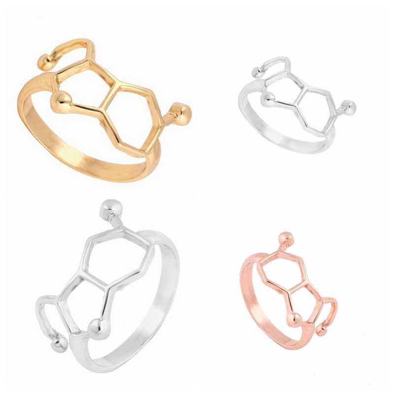 SMJEL แฟชั่นเครื่องประดับ Punk วิทยาศาสตร์ Serotonin โมเลกุลแหวนผู้หญิงผู้ชายสำเร็จการศึกษาของขวัญเพื่อนที่ดีที่สุดคอสเพลย์ bagues pour femme