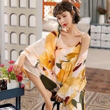 JULYS SONG 3 Piece Spring  Floral Printed Pajamas Set Summer Viscose Sleepwear Women Pajamas Top  Long Pants Night Suit  Set
