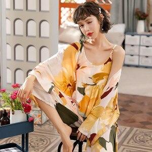 Image 1 - JULYS SONG 3 Piece Spring  Floral Printed Pajamas Set Summer Viscose Sleepwear Women Pajamas Top  Long Pants Night Suit  Set