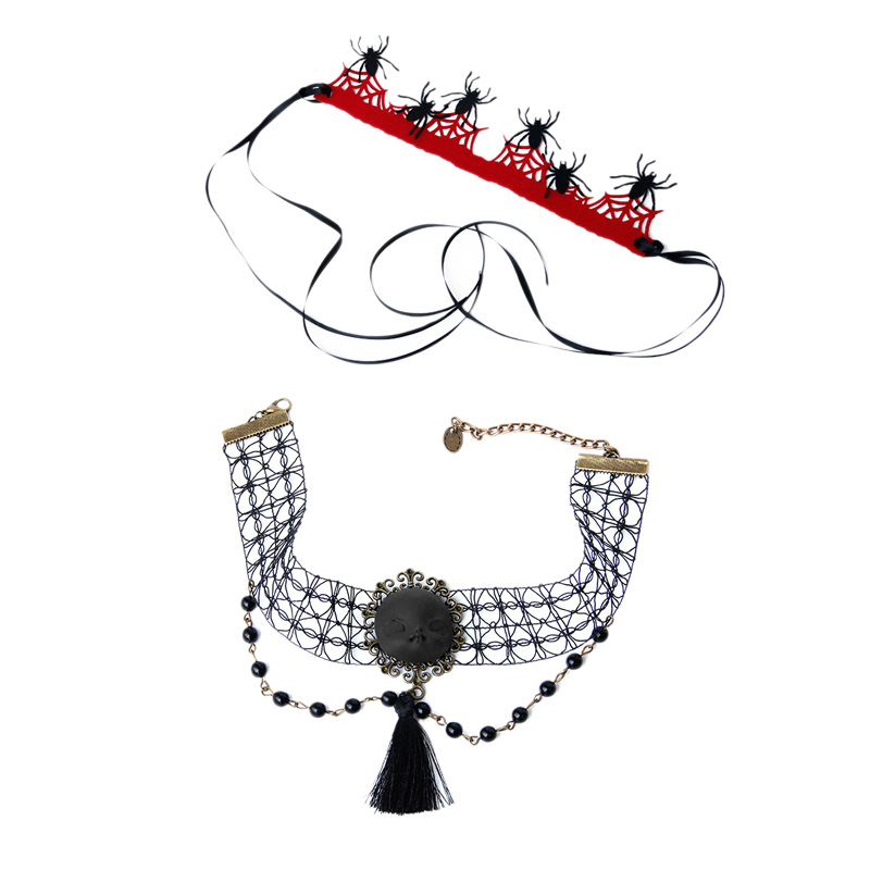 Gothic Wind Witch Head Necklace Halloween Supplies Faux Pearl Tassel Necklace Spider Headband Set