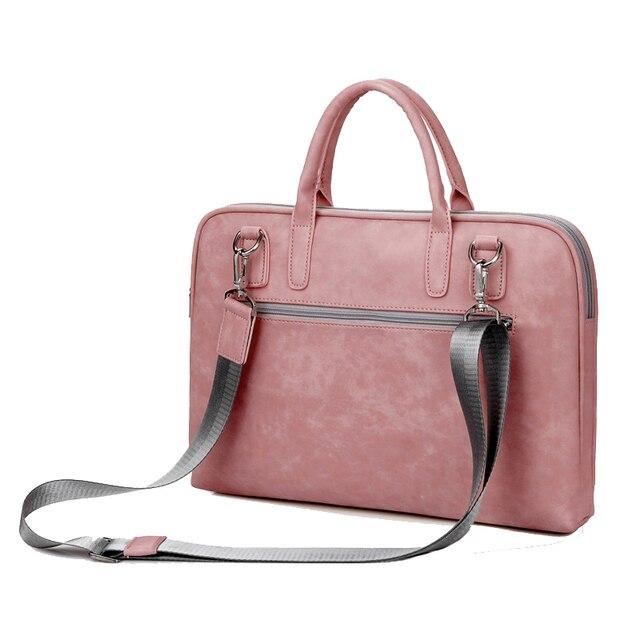 PU Leather Scratchproof 14 15.6 17.3 Laptop Handbag For Macbook Air 13 2018 Bag Pro 13.3 15 Case Women Men Laptop Shoulder Bags