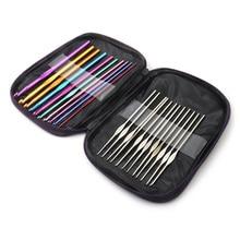 22pcs Multi Coloured Aluminium Crochet Hooks Knitting Needles Set Weave Craft wi