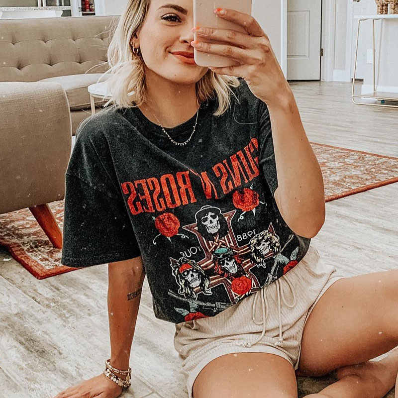 Super Chic roccia graphic maglietta Delle Donne T-Shirt 100% Cotone nero tee grafica delle donne Girocollo Manica Corta Sumemr donne tee top