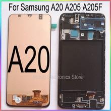 ЖК дисплей с сенсорным экраном и рамкой для Samsung A20, запасные части для ремонта, A205, A205F, SM A205F A205FN