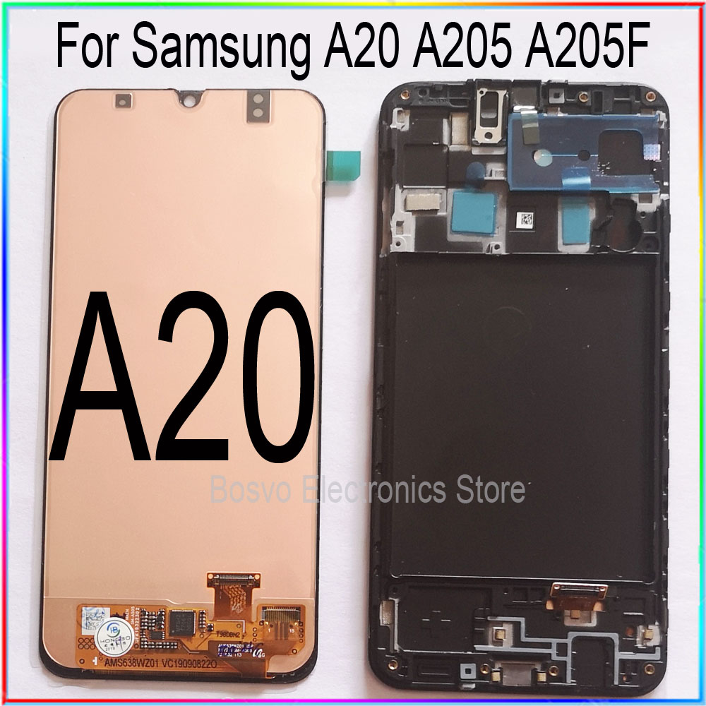 For Samsung A20 LCD Screen Display With Touch With Frame Assembly Replacement Repair Parts A205 A205F SM-A205F A205FN
