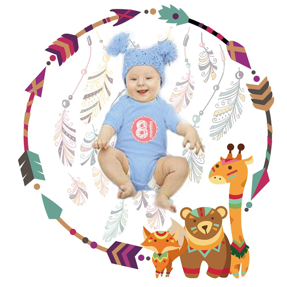 1 Set Baby Photography Blanket Sticker Set Milestone Cartoon Animals Stickers Blankets Infant Girls Boys Photo Commemorative Gif