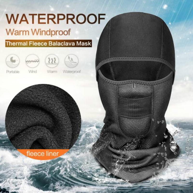 Winter Warm Fleece Motorcycle Face Mask Anti-dust Waterproof Windproof Full Face Cover Hat Neck Helmet Ski Mask Balaclavas